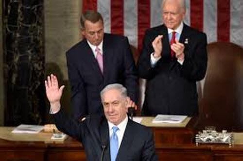 Israeli Prime Minister Benjamin Netanyahu waves to the US Congress just weeks ahead of Israel elections.