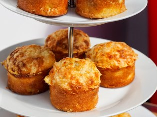 savoury muffin recipe on afternoon tea stand