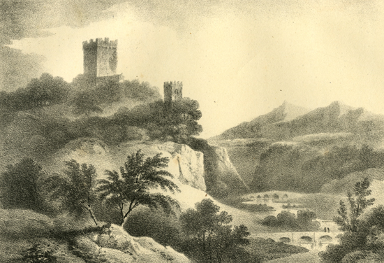 An old view of Blackwater Castle formerly Widenham Castle and Roche Castle.