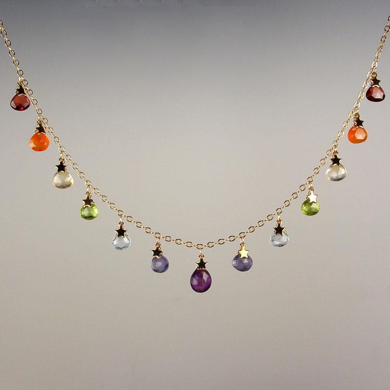 Rainbow Briolette Cascade Necklace Black Water Siren Studio