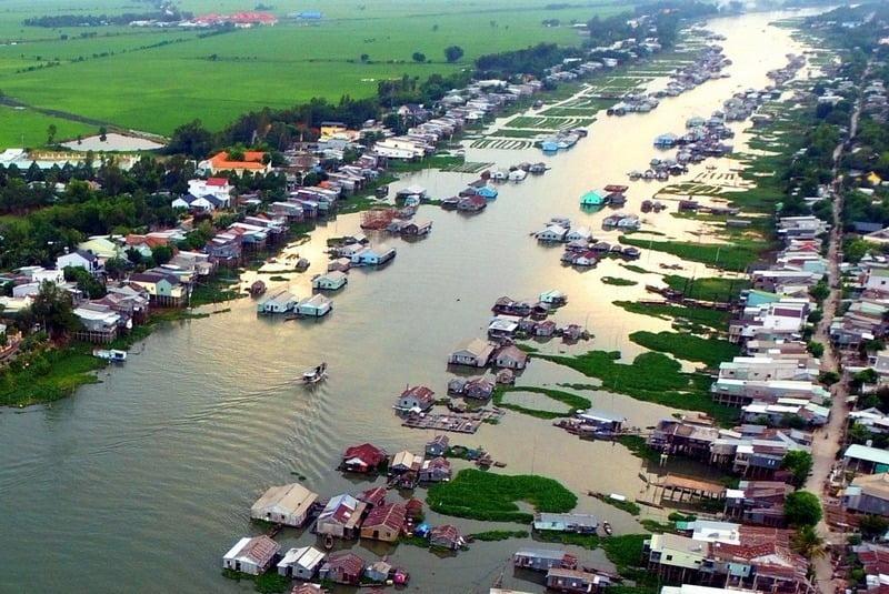 panorama udara chau doc, vietnam