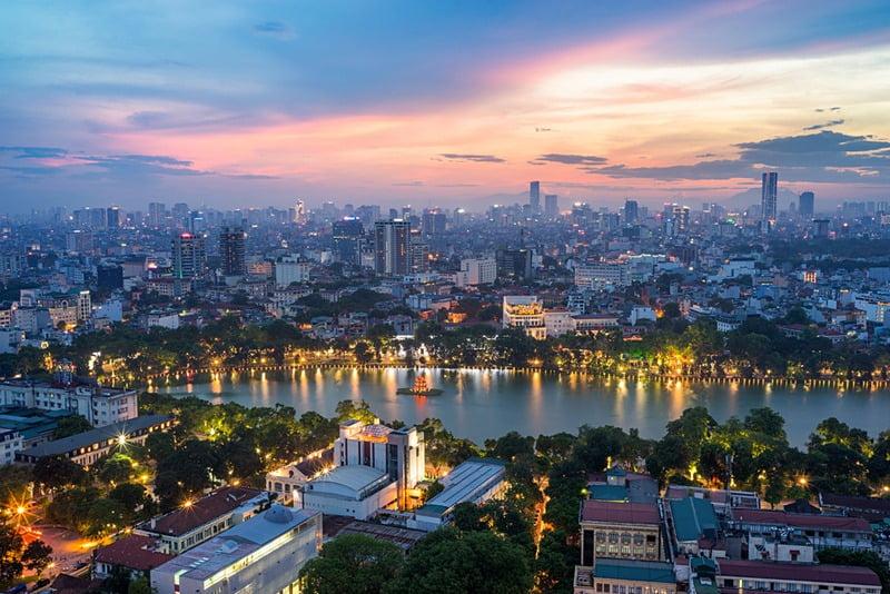 Panorama kota hanoi vietnam dari udara