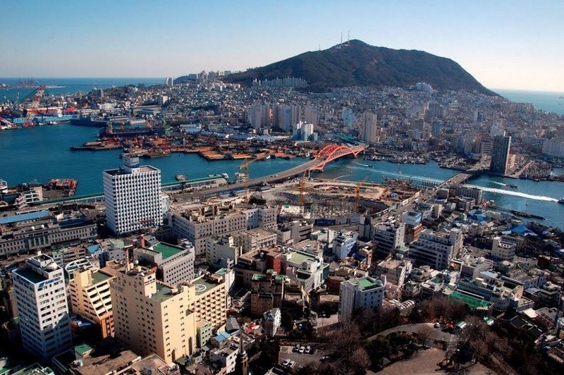 panorama dari udara kota jeju, korea selatan