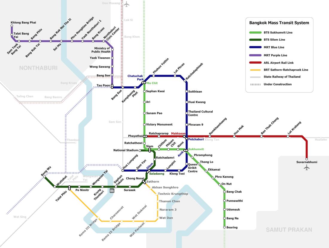 Peta BTS dan MRT Bangkok, Thailand