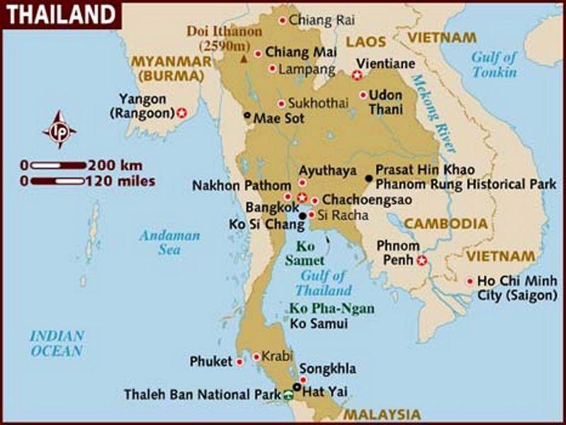peta wilayah negara thailand
