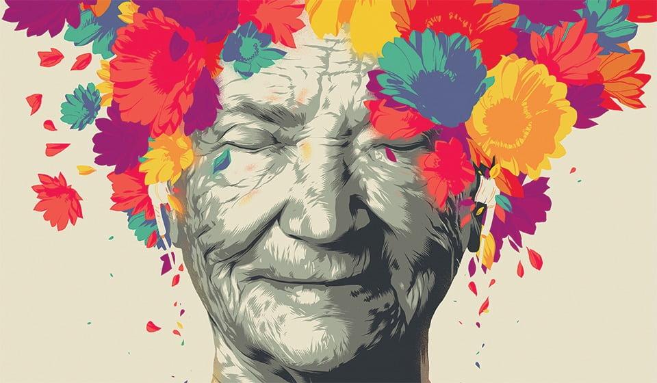 orang lanjut usia dengan lukisan mahkota bunga di kepalanya