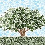 gambar pohon bergaya pointilisme