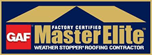 GAF Factory Certified MasterElite Weather Stopper Roofing Contractor Logo