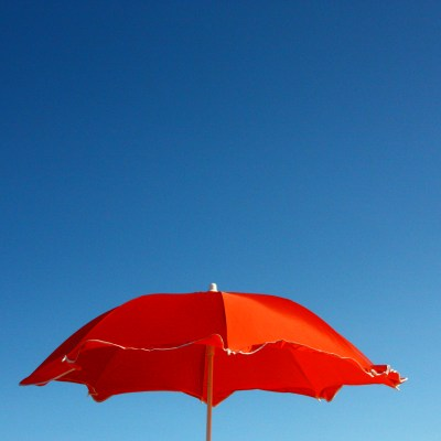 Blue sky and red umbrella. Source: Me