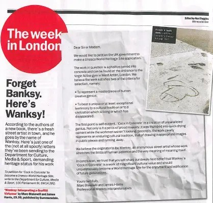 A photo of a Time Out feature on the Wanksy marketing campaign