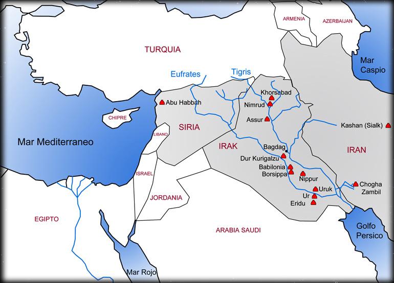 Mapa Ziguratas Mesopotamia