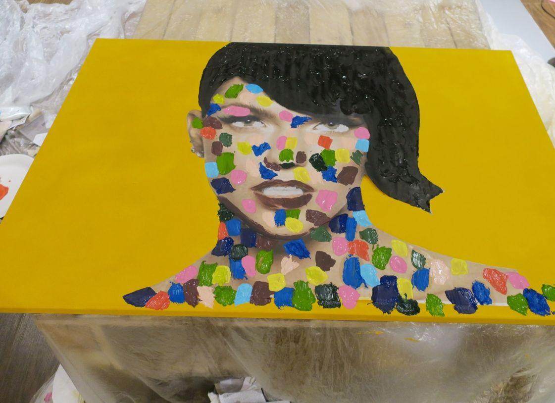 retrato abstracto de colores - paso final