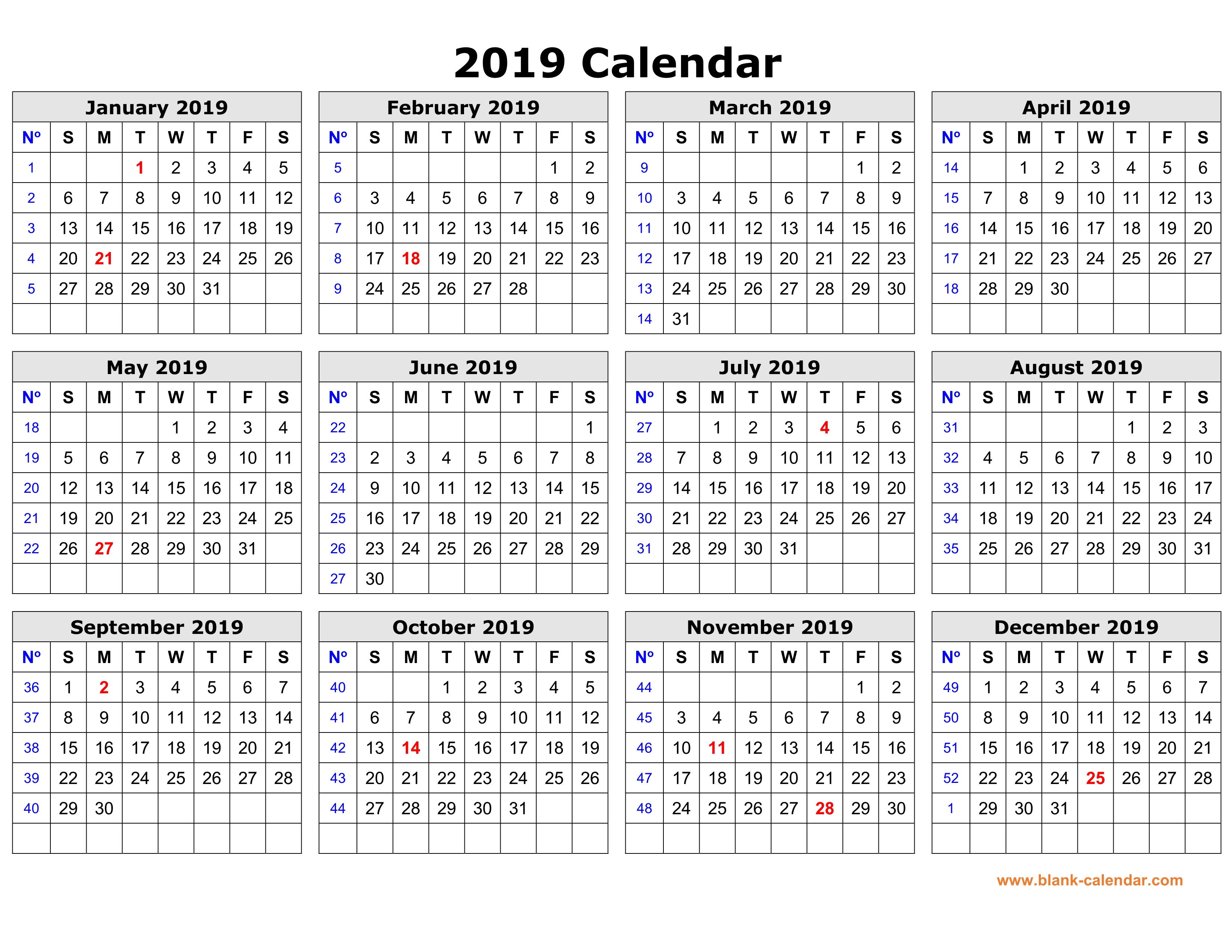 Free Download Printable Calendar In One Page Clean Design
