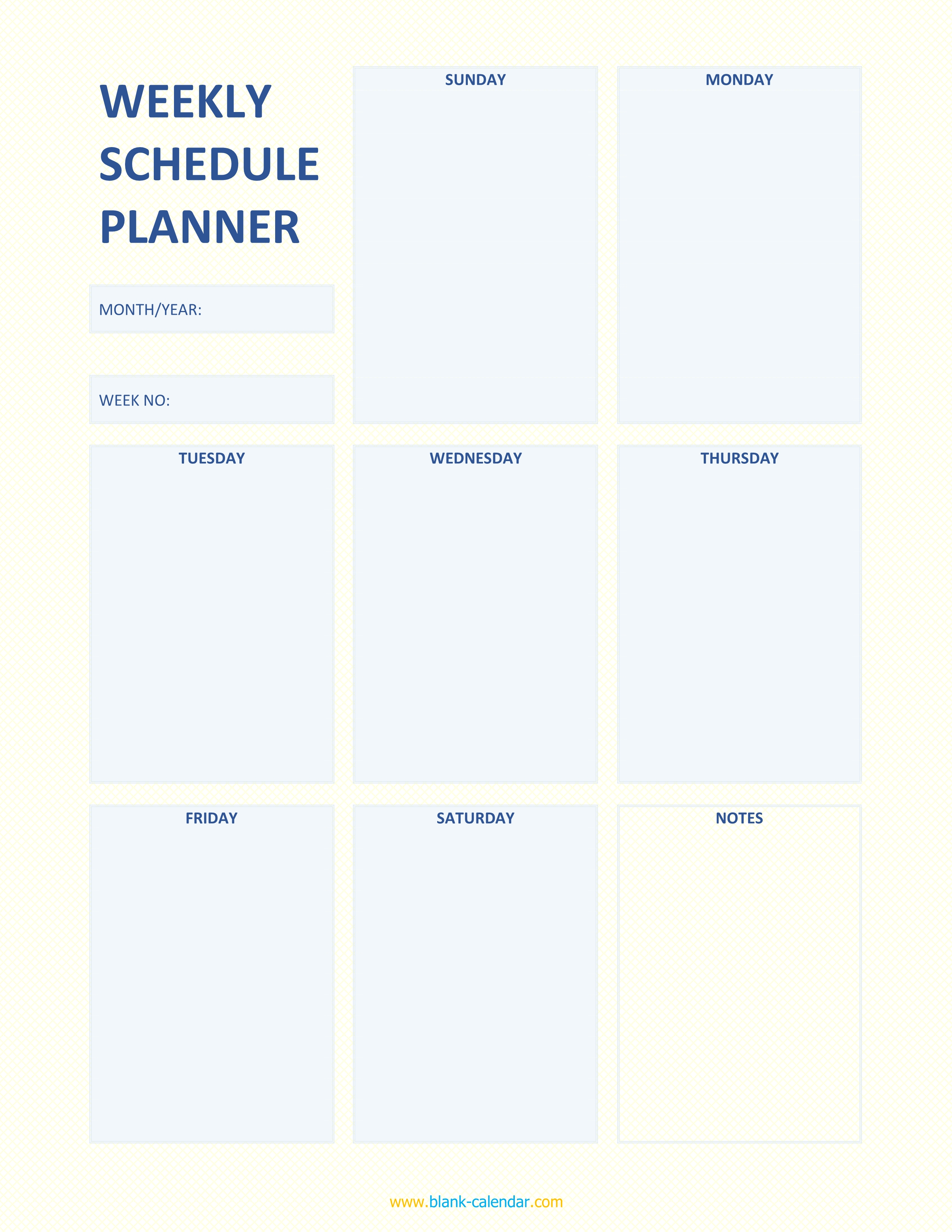 Weekly Schedule Planner Templates Word Excel Pdf