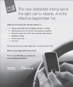 alberta distracted driving laws