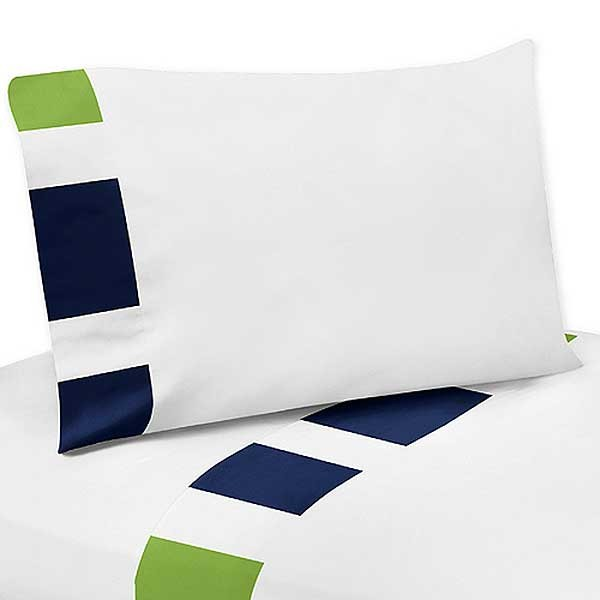 Navy Amp Lime Stripe Bedding Set 4 Piece Twin Size By