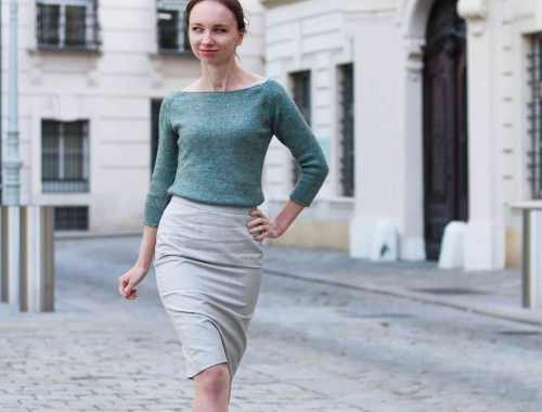 Yakety-Yak Yarn Wide Neck Sweater selfdrafted Pencil Skirt