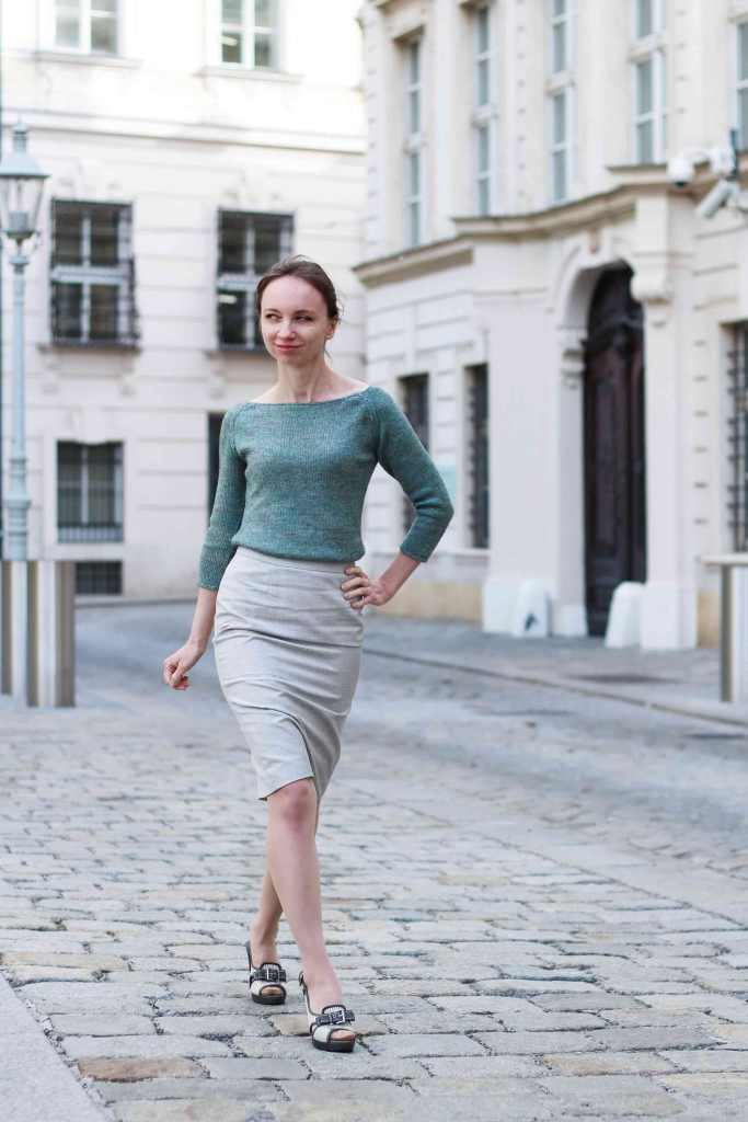 Yakety-Yak Wide Neck Sweater and Pencil Skirt a handmade outfit