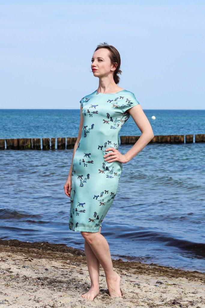 Blue Silk Dress in Front of the Baltic Sea