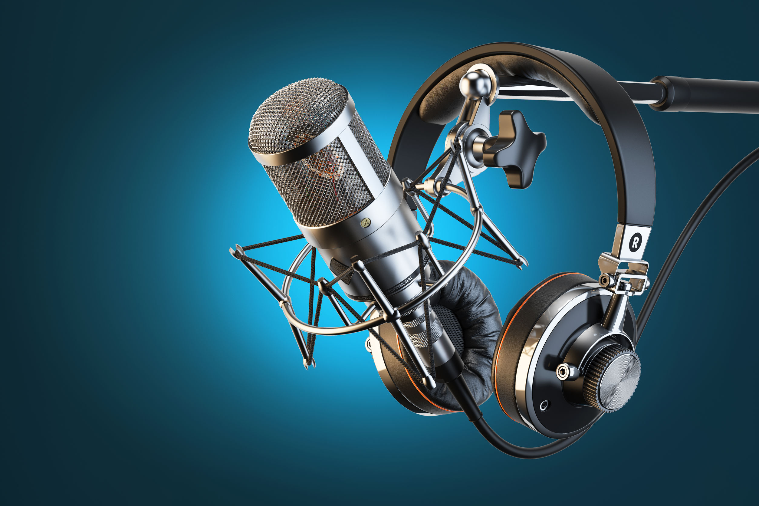 50024326 - headphones on microphone stand, professional studio