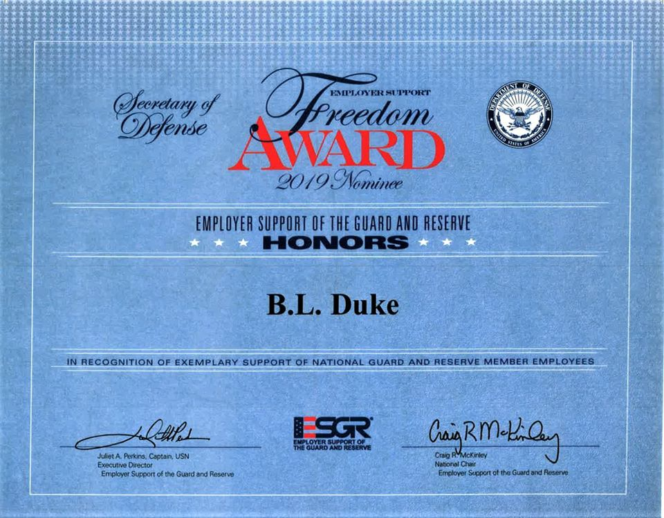 BL Duke Recognized for Support of Military