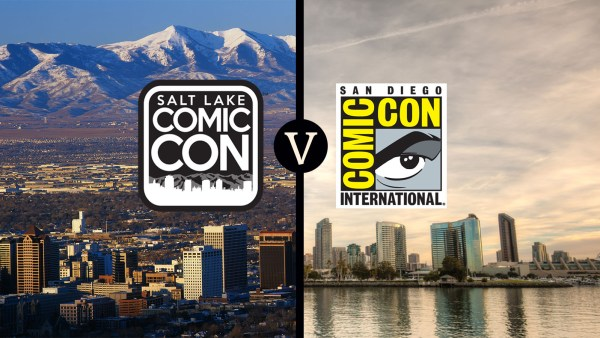 salt lake comic con v sdcc -- Salt Lake City skyline by Joseph Sohm, San Diego skyline by JJM Photography