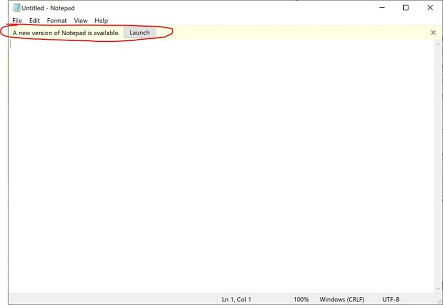 Windows 10 Notepad alert when a new version is available