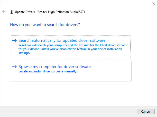 Browser for a driver