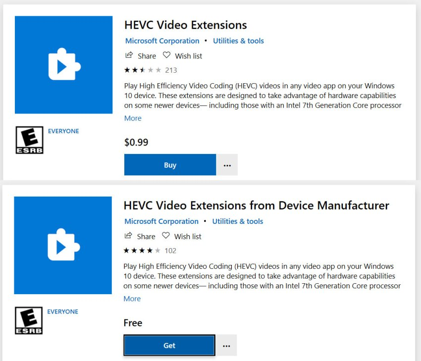 HEVC Video Extensions packages