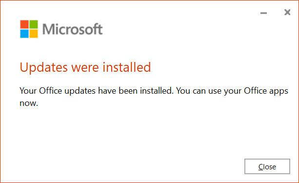 Microsoft Office updates were installed
