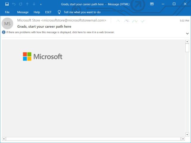 Missing Outlook email content