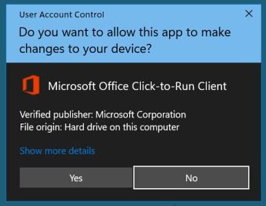 Microsoft Office UAC prompt