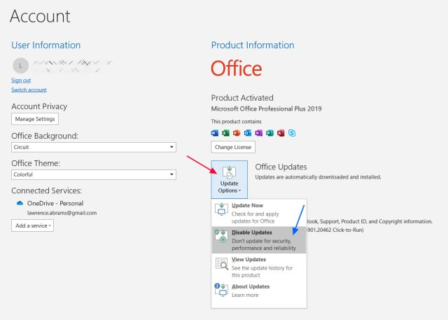 Disabling updates in Microsoft Outlook