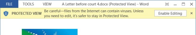 Word document opened in Protected View