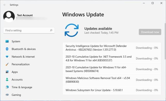 KB5006674update offered in Windows Update