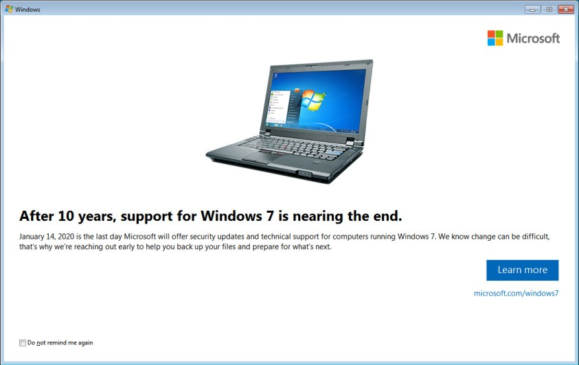 Windows 7 End of Support Alert