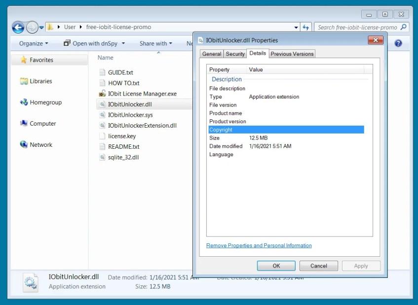 Вредоносная DLL-библиотека IObitUnlocker.dll