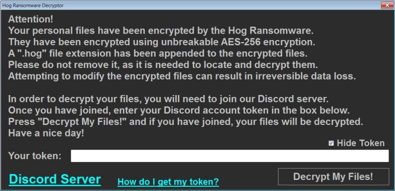 Hog Ransomware Decryptor