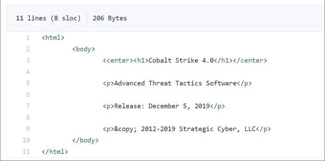 Source code showing Cobalt Strike version