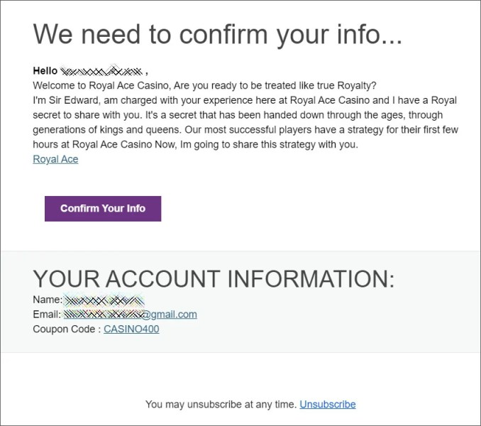 Spam email from Royal Ace Casino affiliates