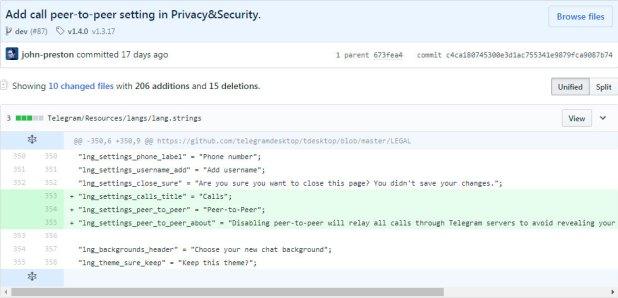 Cambios en el código fuente de Telegram