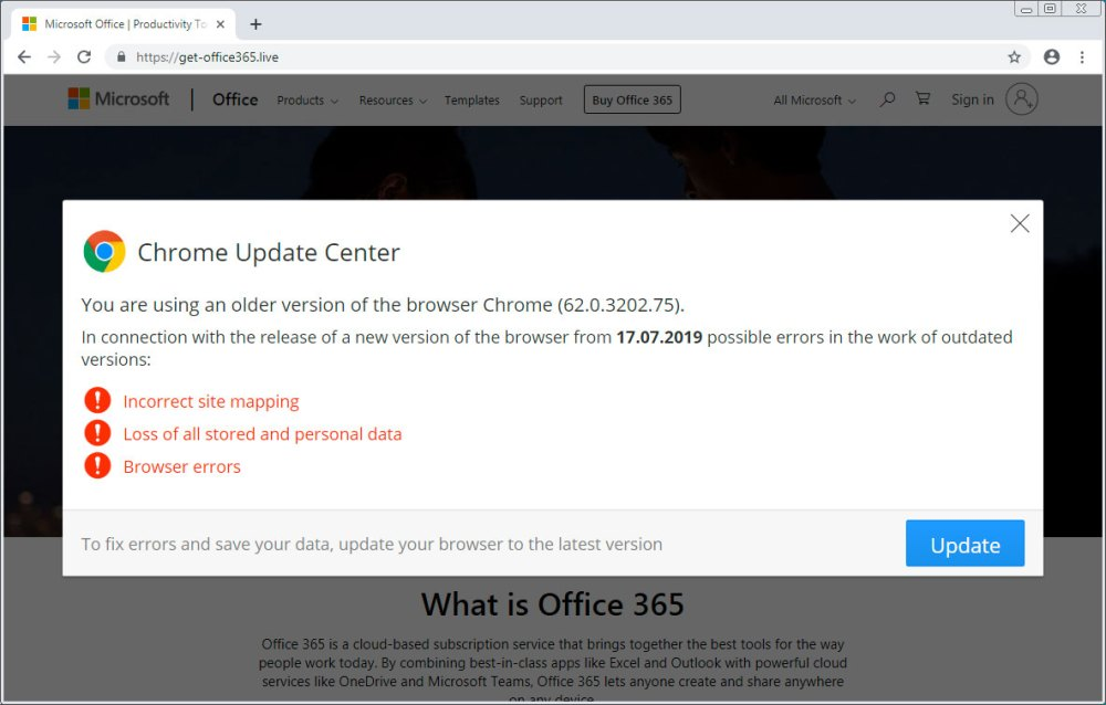 Atualização falsa do Chrome