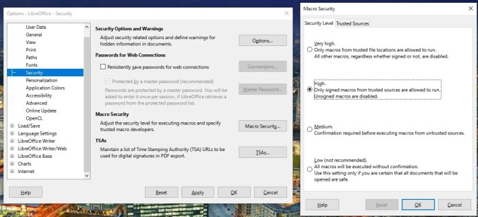 Menu to disable macros on LibreOffice