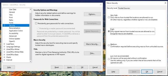 Menu to set macros to disabled on LibreOffice