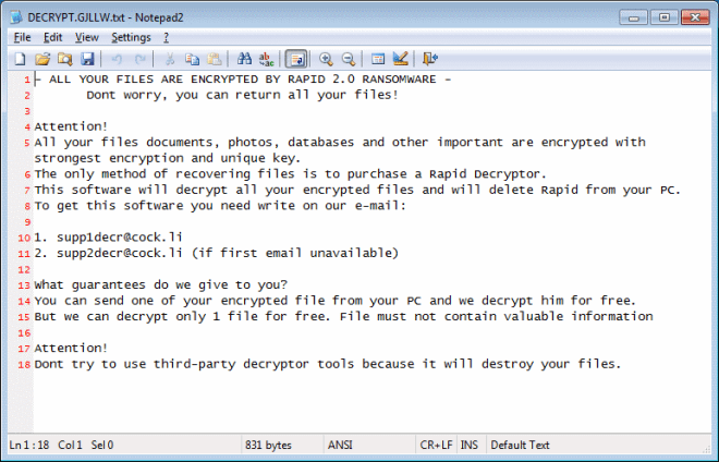 Rapid 2.0 ransom note