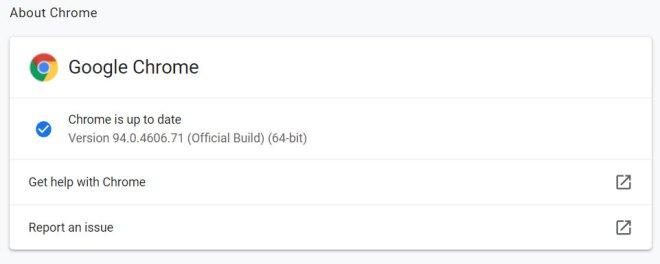 Chrome 94.0.4606.71 installed immediately