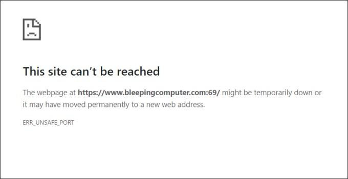 Google Chrome blocking access to an unsafe port