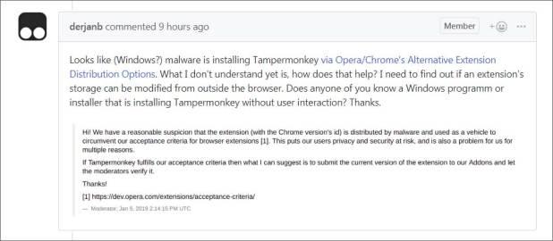 Respuesta del dev de Tampermonkey.