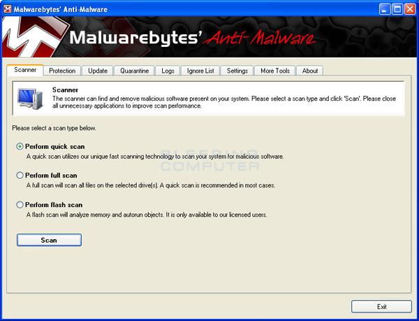 MalwareBytes Anti-Malware Screen