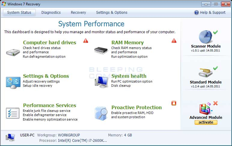 Windows 7 Pemulihan screenshot